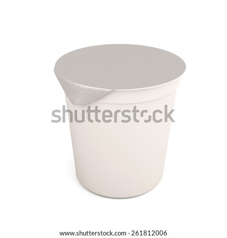 White food kontener for yogurts, creams, processed cheeses isolated on white background. Packing for liquid products. 3d illustration.