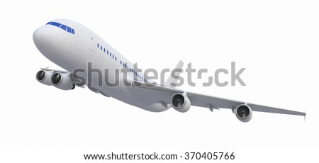 White Four-engine Plane, 3d Model