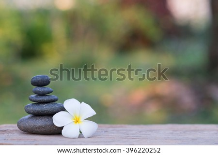 white frangipani flower and stone zen spa on wood with garden blurred background - stock photo