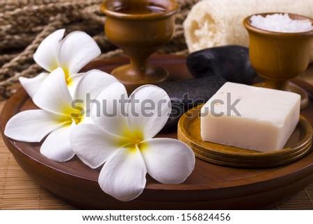 White frangipani with spa concept - stock photo