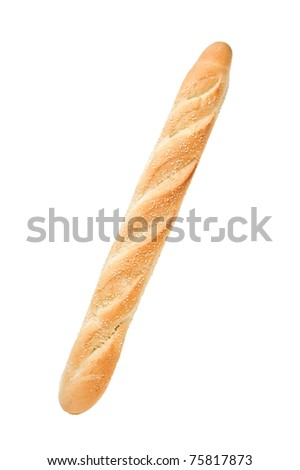 White french baguette bread with sesame isolated on white background - stock photo