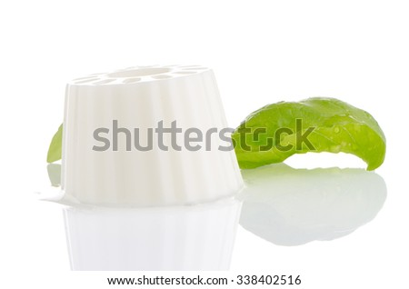 White fresh cheese with fresh basil leaves on white reflective background. - stock photo