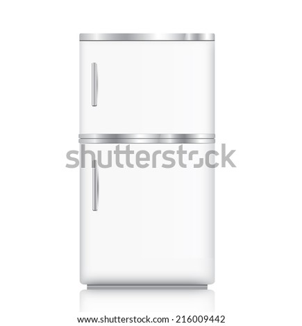 White fridge isolated on white - stock photo