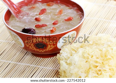 White fungus (Tremella fuciformis) and cooked with Goji berry taken as medicine supplement in Asia. - stock photo