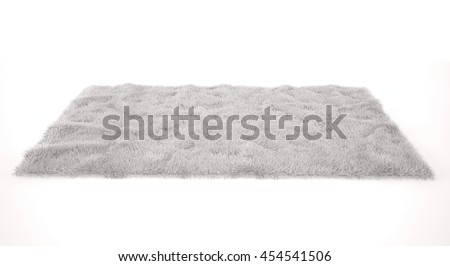 White furry carpet. Isolated 3d render