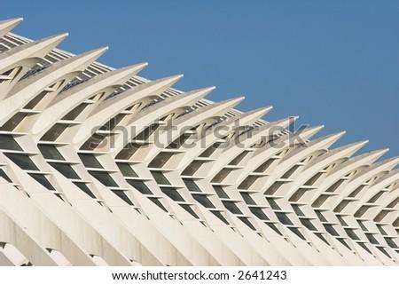 White futuristic building. Modern european architecture. - stock photo