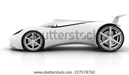 white futuristic concept sport car on isolated white background - stock photo