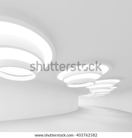 white Futuristic Tunnel. Abstract Architecture Background. 3d Rendering - stock photo