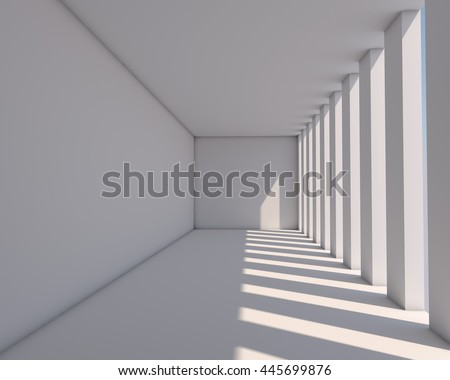 White gallery illuminated by sunlight architectural background. 3D rendering. - stock photo