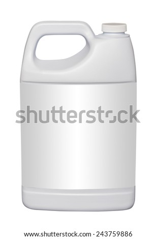 White gallon jug with empty label, isolated - stock photo