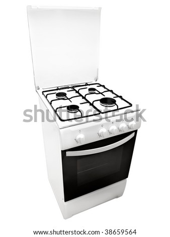 white gas cooker over the white background - stock photo