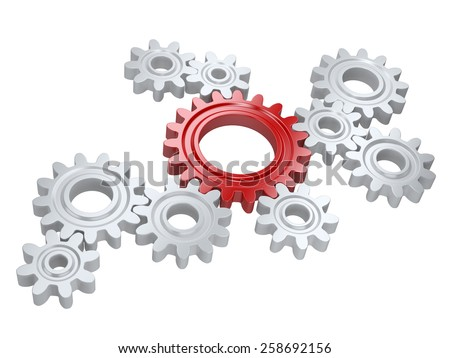 White gears and one red. Teamwork and leadership concept. Isolated on a background  - stock photo