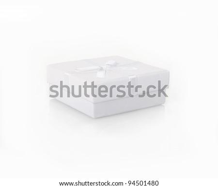 white gift box on white background - stock photo