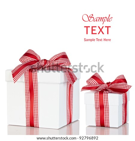 White Gift Box's With Red & White Gingham Checked Ribbon, Isolated On White Background ~ Includes Clipping Path - stock photo