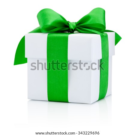 White gift box tied green ribbon Isolated on white background - stock photo