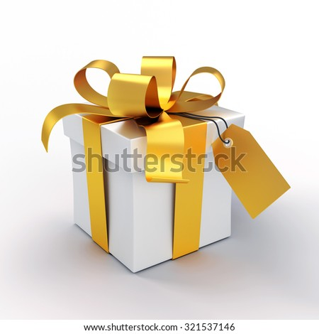 White gift box tied up with golden ribbons, isolated on white