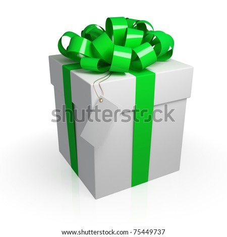 White gift box with a green ribbon. Isolated on white. 3d rendered.