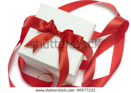 white gift box with a red ribbon and bow isolated over white. some other you may also like