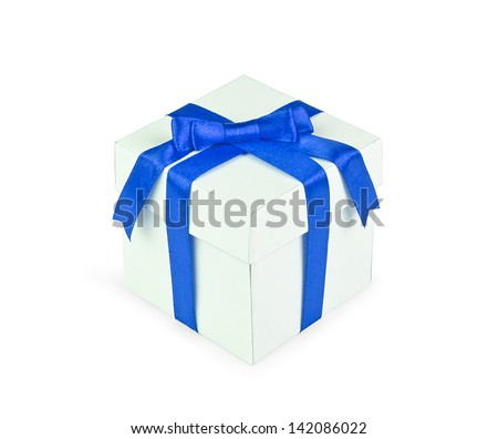 White gift box with blue ribbon bow isolated on white background.