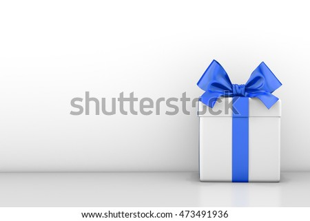 White gift box with blue ribbon bow,white background , 3d rendering