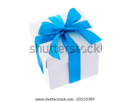 White gift box with cyan color bow ribbon on white background