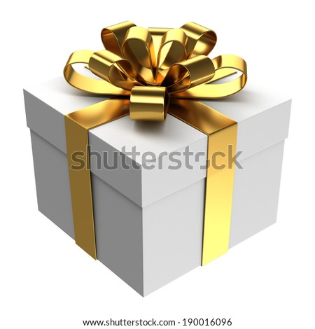 White gift box with golden ribbon, Isolated
