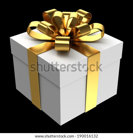 White gift box with golden ribbon, Isolated on black - stock photo