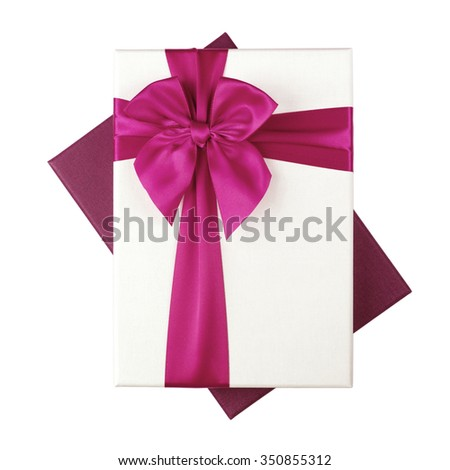 White gift Box with pink ribbon Isolated on white background