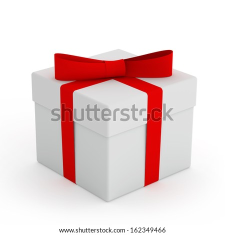 White Gift Box with Red Ribbon and Bow Isolated on the White Background
