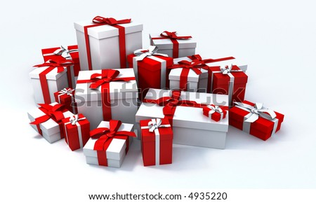 White gift box with red ribbon in the middle of a pile of white gift boxes - stock photo