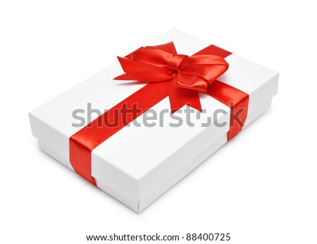 White gift box with red ribbon over white background - stock photo