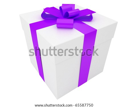 white gift box with violet ribbon isolated on white background - stock photo