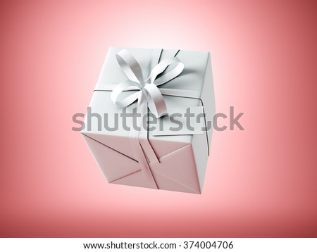 White gift box with white ribbon bow and blank business card, isolated on red, horizontal. 3d render - stock photo