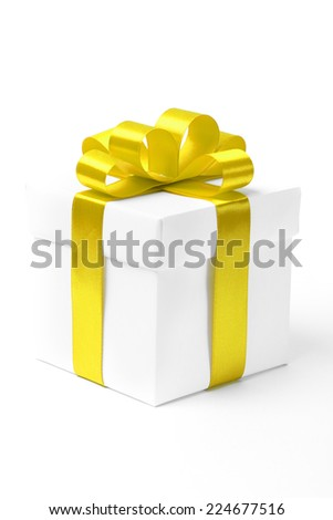 White gift box with yellow ribbon bow, isolated on white