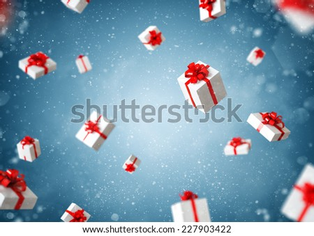 White gift boxes with red ribbon at blue background. Christmas illustration - stock photo