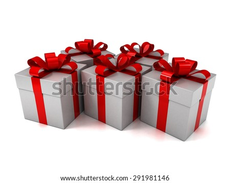 White Gift Boxes with Red Ribbon Isolated on White Background. 3D Illustration  - stock photo