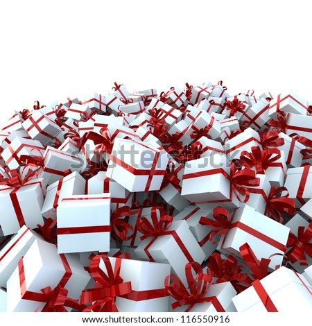 white gift boxes with red ribbons - stock photo
