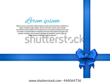 White gift card with blue bow and ribbon - stock photo