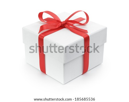 white gift paper box with red ribbon bow, isolated on white - stock photo