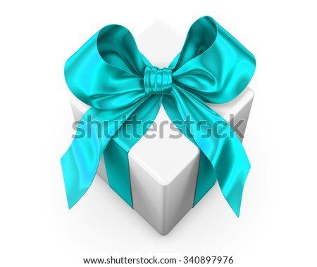 White gift with green ribbon  on white background