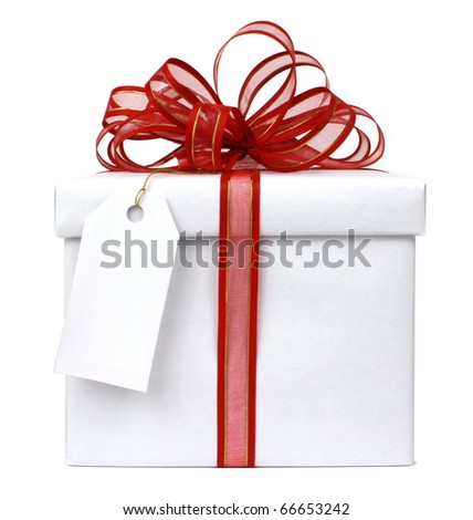 white gift with red bow