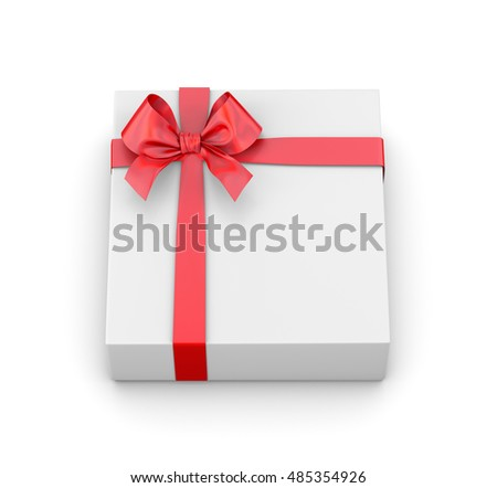 White gift with red ribbon on white background -  3D rendering