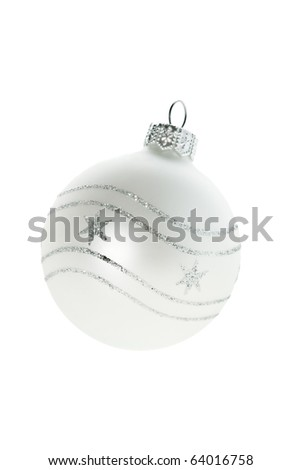 White glass Christmas ball - stock photo