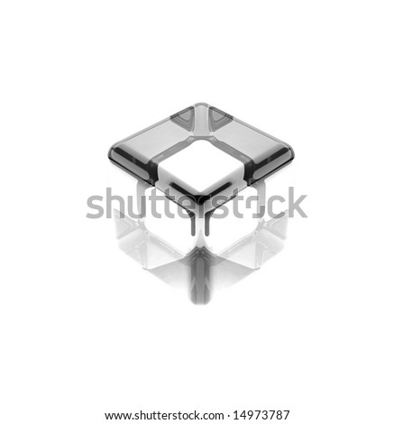 white glass cube isolated