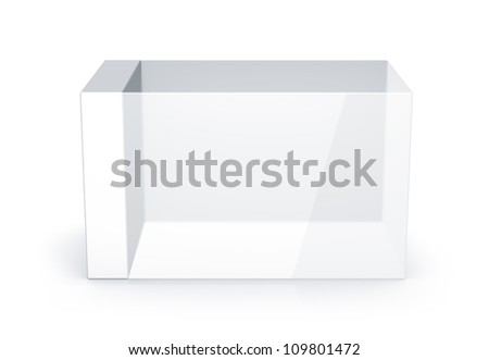 White glass rectangle box. High resolution 3D illustration with clipping paths. - stock photo