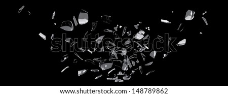 white glass shards scattered across black surface - stock photo