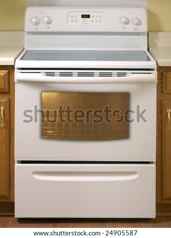White Glass Stove with 4 burners front view - stock photo