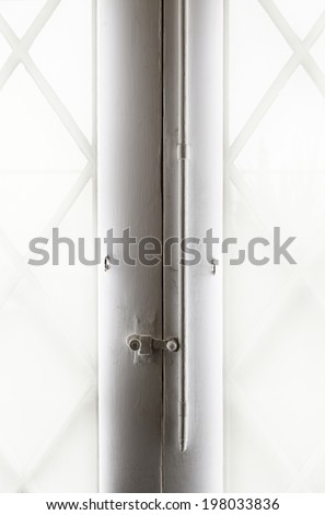 White glass window detail of the entry of light through a window, exterior views - stock photo