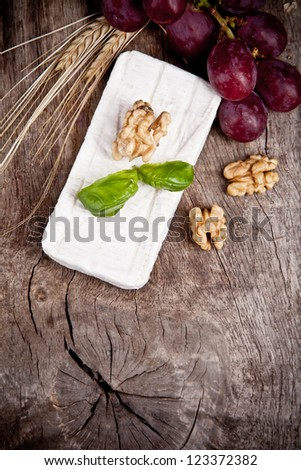 White goat cheese with noble rot on wooden table - stock photo