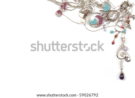 White gold jewelry frame on white background - stock photo